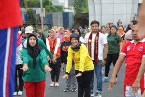 Wagub Nunik dan Muli Mekhanai Lampung Meriahkan Senam Car Free Day