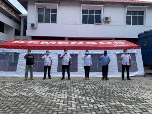 Kadisos Lampung Tinjau Simulasi Pemasangan Tenda Khusus Covid-19, dan Buffer Stock dari Kemensos RI